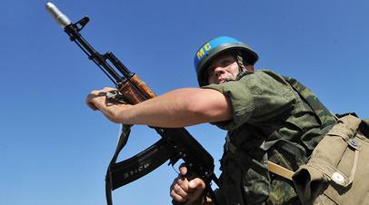 Военнослужащий принимает участие в учениях Оперативной группы российских войск в Приднестровском регионе Республики Молдавия.