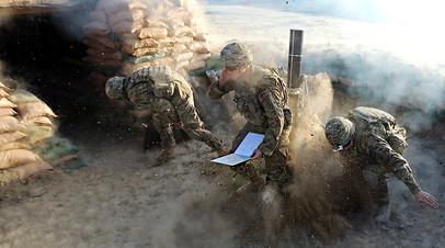 Миномётный расчёт американской армии в Афганистане