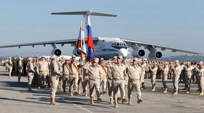 Парад российских войск на авиабазе Хмеймим