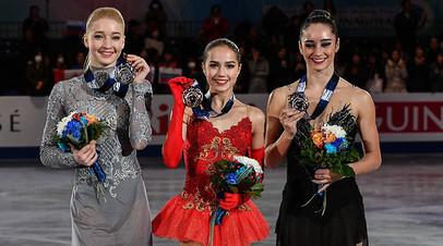 Мария Сотскова (Россия) - серебряная медаль, Алина Загитова (Россия)- золотая медаль, Кэйтлин Осмонд (Канада)- бронзовая медаль