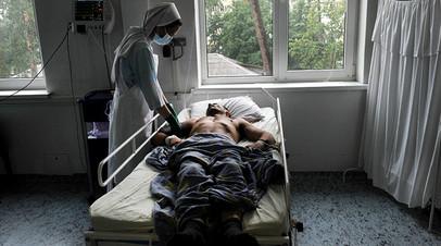 Смертельно больной пациент в клинике СПИДа в Киеве
