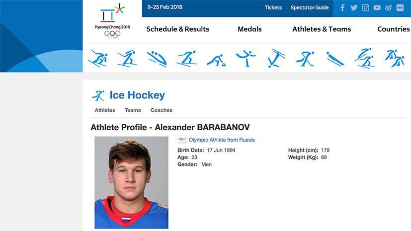 На сайте Олимпийских игр в Пхёнчхане опубликованы фото российских хоккеистов с национальным флагом на экипировке