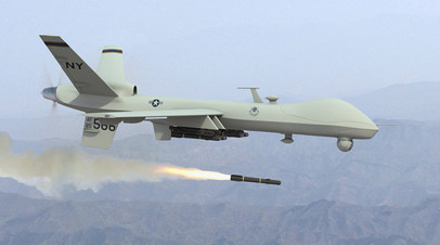 Пуск ракеты американского беспилотного аппарата Hellfire II с БЛА MQ-9 Reaper