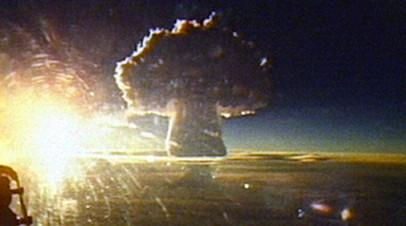 Кадр испытания советской водородной бомбы