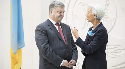 Пётр Порошенко во время встречи c Кристин Лагард