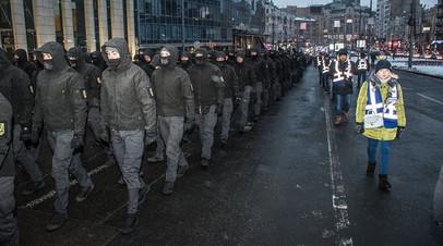 Шествие бойцов «Национальных дружин» по Крещатику, 28 января 2018