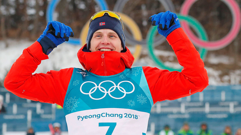 Норвежец Крюгер стал чемпионом соревнований по скиатлону на ОИ-2018