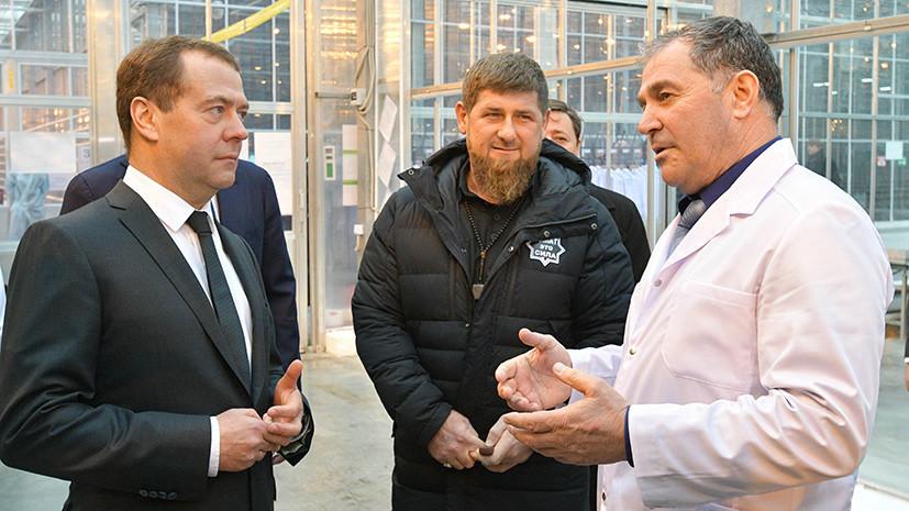 Медведев и Кадыров посетили тепличный комплекс в Грозном