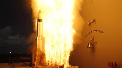 Запуск противоракеты SM-3 Block IIA с Тихоокеанского ракетного полигона на острове Кауаи