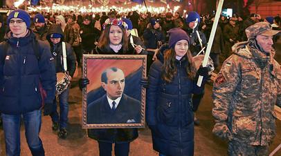 Марш националистов в Киеве в день рождения Степана Бандеры, 1 января 2018 года
