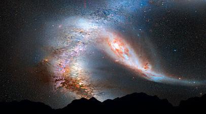 Визуализация возможного столкновения Млечного Пути и галактики Андромеды
