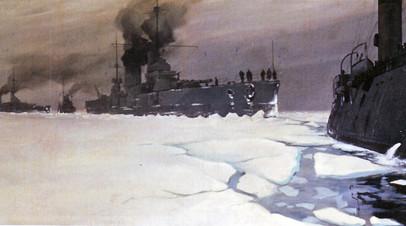 Картина художника С.А. Никитина «Ледовый поход кораблей Балтийского флота из Гельсингфорса в Кронштадт»