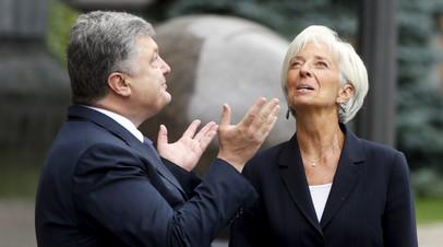 Президент Украины Пётр Порошенко во время встречи с управляющей Международного валютного фонда Кристин Лагард