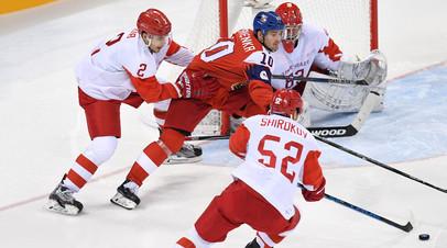 Сборная России по хоккею во время матча