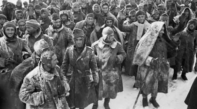 Немецкие и итальянские военнопленные после поражения под Сталинградом, февраль 1943 года