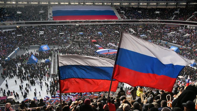 МВД: более 130 тысяч человек участвуют в митинге в поддержку Путина в Москве