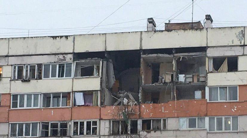 В Петербурге в результате хлопка газа разрушены стены трёх верхних этажей дома