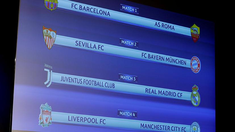 Состоялась жеребьёвка 1/4 финала Лиги чемпионов по футболу
