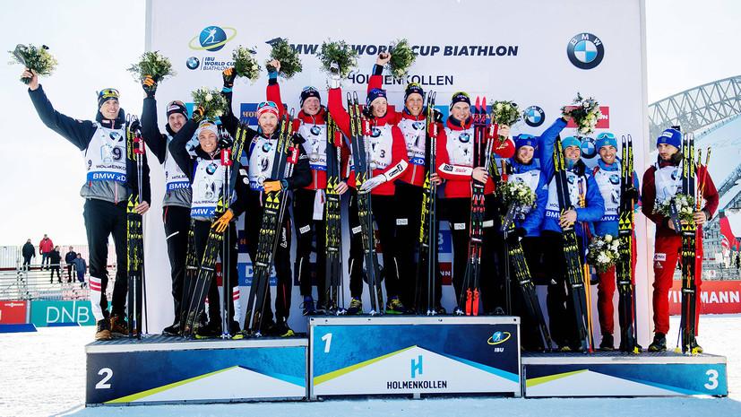 Россия заняла третье место в мужской эстафете на этапе Кубка мира по биатлону