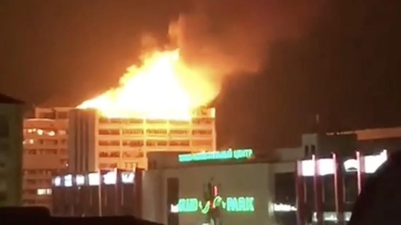 В Грозном на крыше 12-этажного дома произошёл пожар