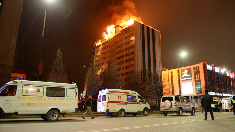 В Грозном ликвидировали пожар в многоэтажном доме