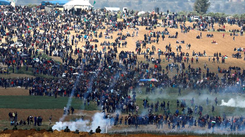 СМИ: В протестах на границе Израиля и сектора Газа участвуют тысячи палестинцев