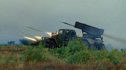 Залп гвардейских миномётов — «Катюш»