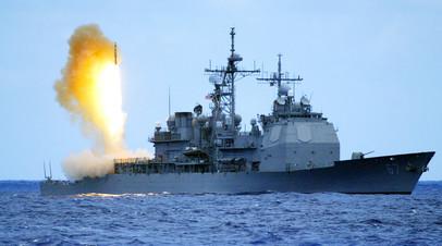 Ракетный крейсер USS Shiloh (CG 67) запускает противоракету SM-3