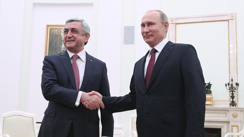 Путин поздравил Саргсяна с назначением на пост главы правительства Армении
