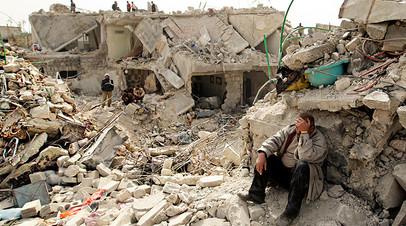 Разрушенный в ходе боевых действий сирийский город