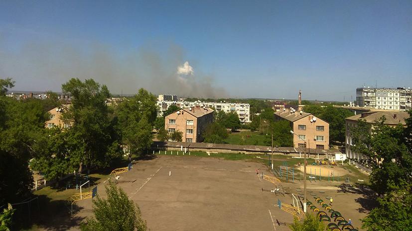 В украинском городе Балаклея загорелся склад боеприпасов