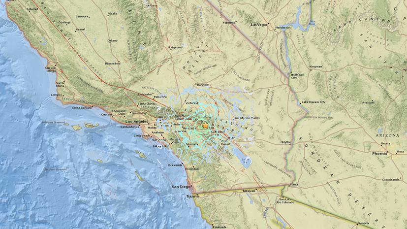 Землетрясение магнитудой 4,5 произошло вблизи Палм-Спрингс в Калифорнии