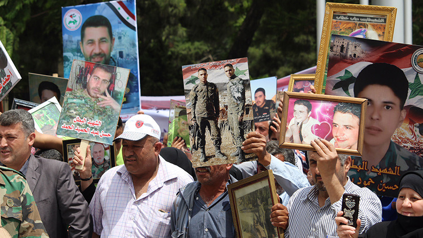 В центре Алеппо в Сирии прошла акция «Бессмертный полк»