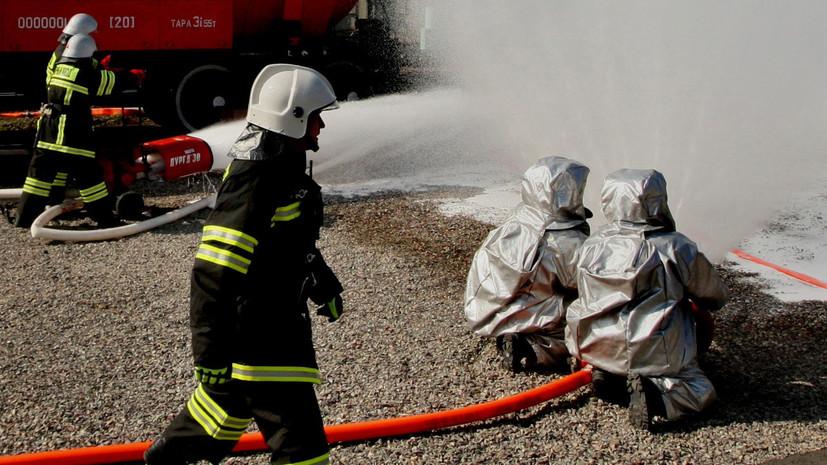 В Подмосковье загорелась железнодорожная цистерна
