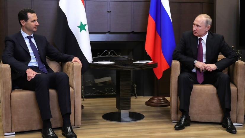 Путин поздравил Асада с успехами сирийской армии в борьбе с террористами
