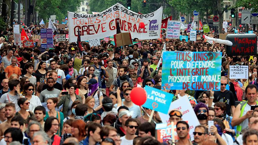 Профсоюз: акции протеста против политики Макрона собрали во Франции 250 тысяч человек
