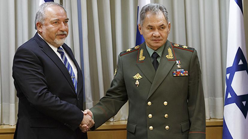 Шойгу обсудил с главой Минобороны Израиля ситуацию на границе Сирии и Иордании