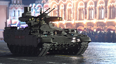 Боевая машина поддержки танков (БМПТ) «Терминатор» на репетиции военного парада на Красной площади