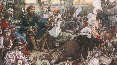 «Отдых великого князя Владимира Мономаха после охоты», Виктор Васнецов