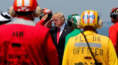 Дональд Трамп на военно-морской базе Норфолк, США