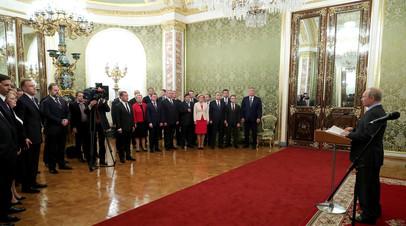 Президент РФ Владимир Путин во время встречи с членами правительства
