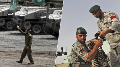 Военные Израиля (слева) и Ирана (справа)