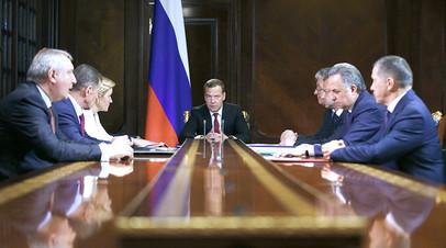 14 мая 2018 года. Председатель правительства РФ Дмитрий Медведев проводит совещание с исполняющими обязанности вице-премьеров РФ