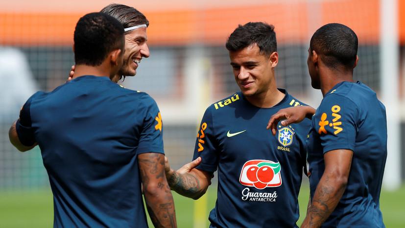 Мужчина выбежал на поле во время тренировки сборной Бразилии в Сочи