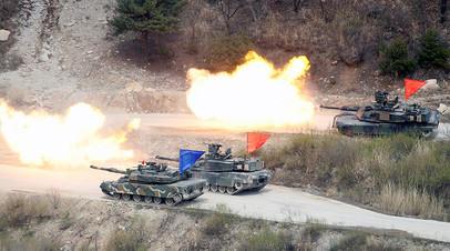 Южнокорейские танки K1A1 и американские танки M1A2 на совместных учениях