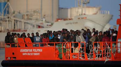 Прибытие беженцев из Африки в ЕС через Средиземное море
