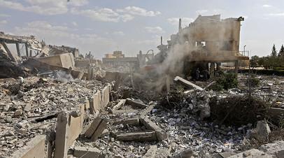 Последствия удара, нанесённого США и союзниками 14 апреля по НИЦ в Барзе, Сирия