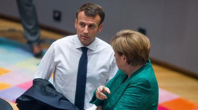 Французский президент Эммануэль Макрон и канцлер Германии Ангела Меркель. Брюссель, Бельгия, 28 июня 2018