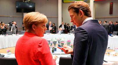 Канцлер Германии Ангела Меркель и канцлер Австрии Себастьян Курц на саммите в Брюсселе