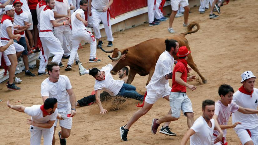 Пять человек пострадали в забеге с быками на празднике в Испании
